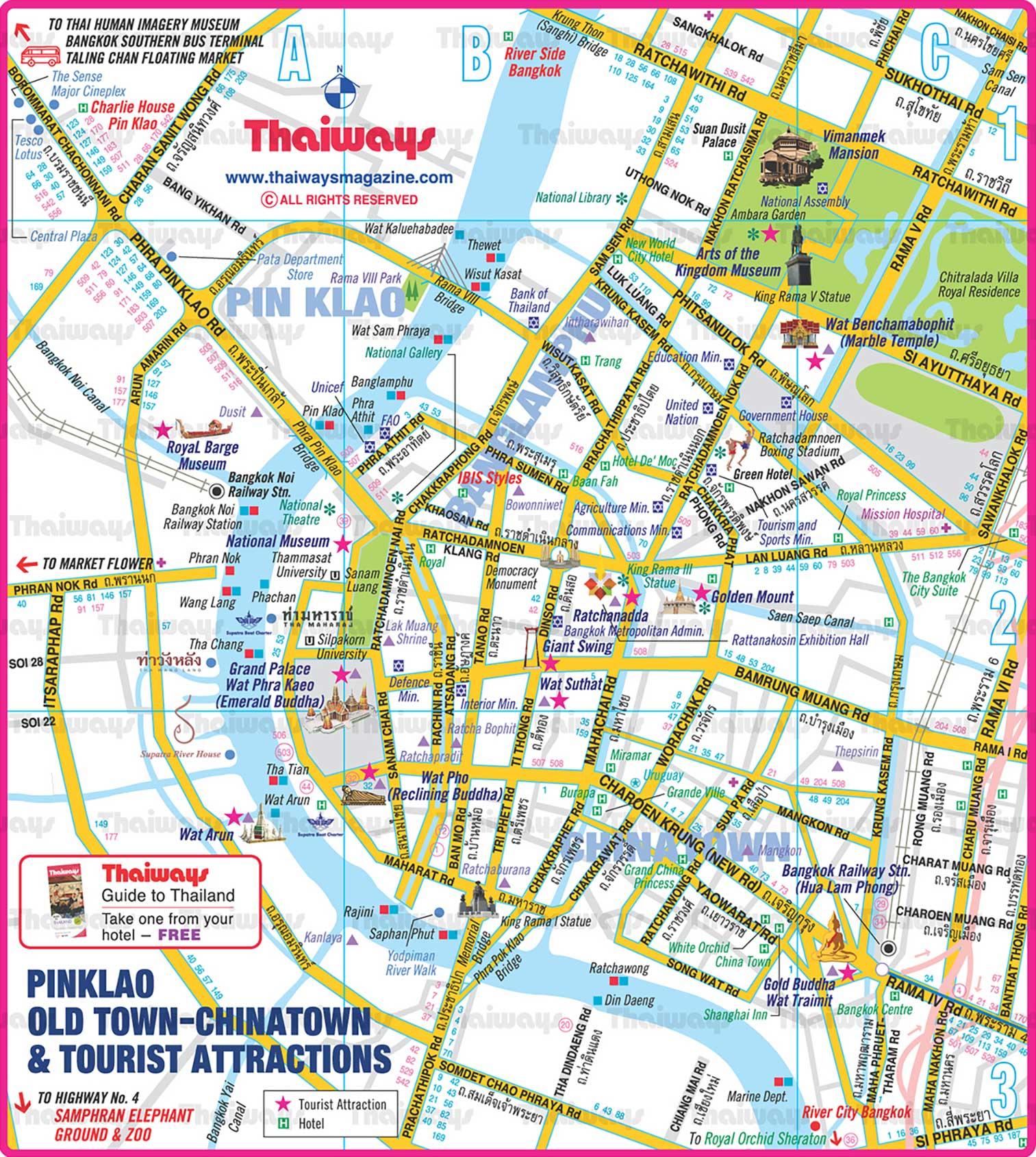 Карта центра Бангкока с достопримечательностями