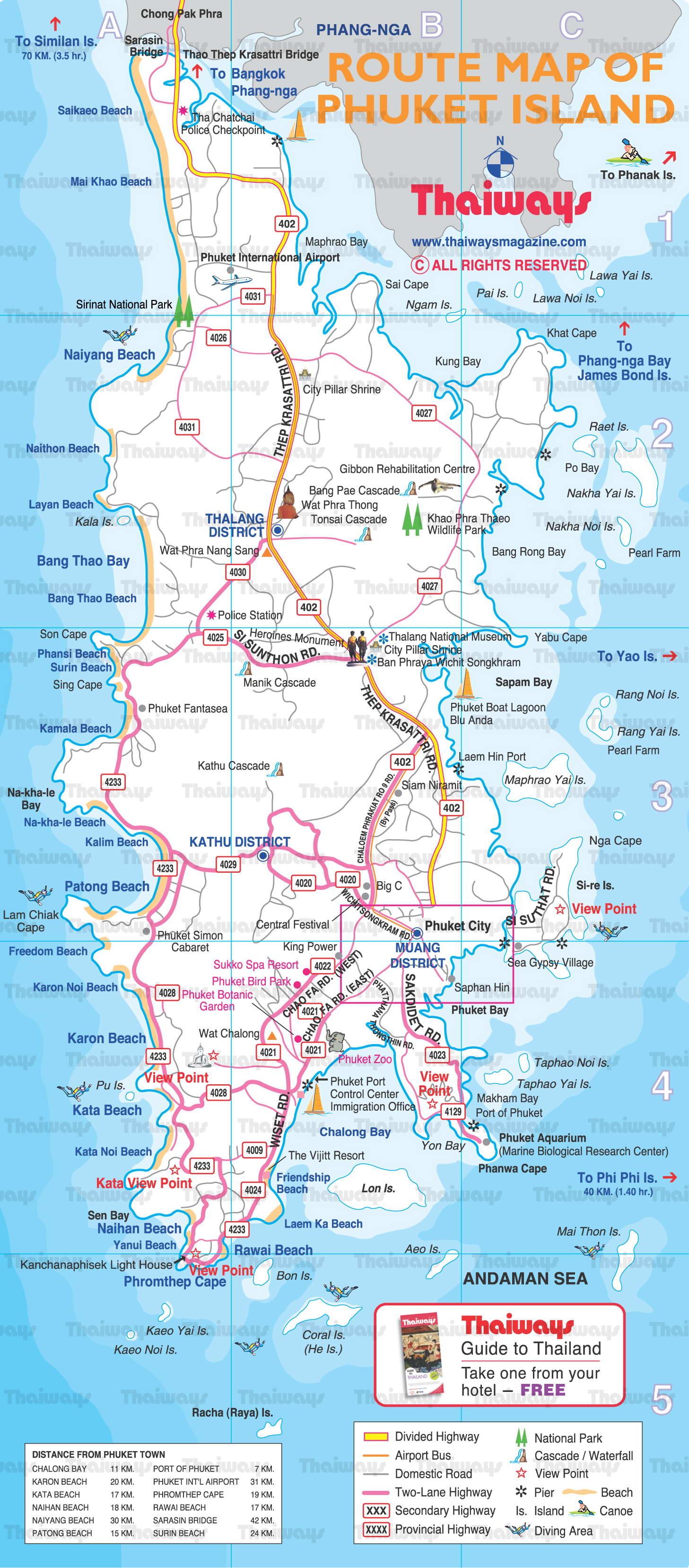 Карта Пхукета с достопримечательностями